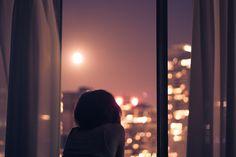 window, night, looking out, sun, girl,