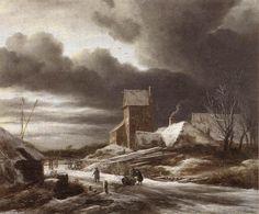 Paysage d hiver (3), huile sur toile de Jacob Isaakszoon Van Ruisdael (Ruysdael) (1628-1682, Netherlands)
