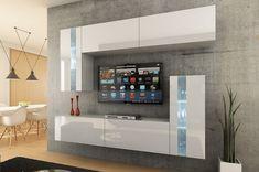 Mueble de salón VICTORIA blanco brillante – Prime-Home España • Muebles para el Hogar y Oficina | www.prime-home.es Tv Unit Decor, Tv Wall Decor, Tv Wall Design, Tv Unit Design, Living Room Furniture Inspiration, Tv Wanddekor, Tv Unit Furniture, Modern Tv Units, Home Curtains