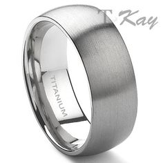 Titanium 8mm Dome Wedding Band Ring -- Love this, very masculine