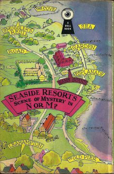 Map of the Seaside Resort in N or M? by Agatha Christie in a Dell edition Murder Mysteries, Cozy Mysteries, Film Books, Book Authors, The Secret Adversary, Francesca Annis, Cloris Leachman, Detective, Teen Party Games