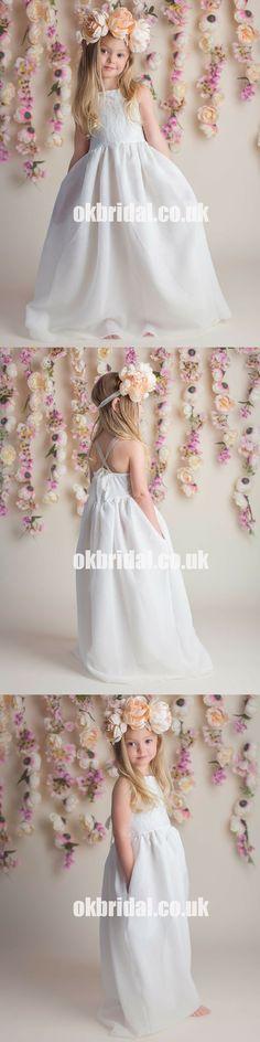 1a58f5ace Lace Top A-Line Flower Girl Dresses, Satin Chiffon Flower Lovely Little  Girl Dresses, D1167