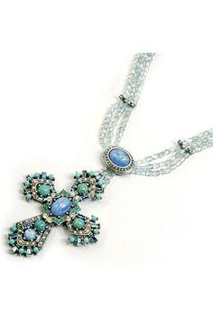Regal Blue Cross Necklace