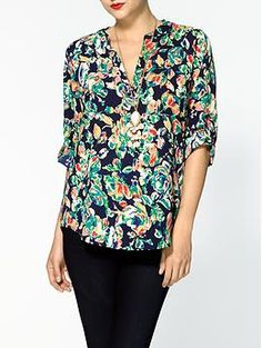 Collective Concepts Printed Tab Sleeve Blouse | Piperlime