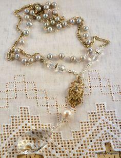 Vintage  Art Deco Rhinestone Link & Crystal