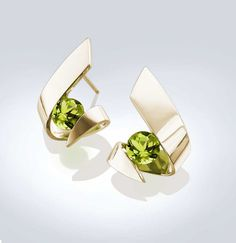 gold earrings  14k yellow gold  peridot  by VerbenaPlaceJewelry