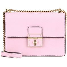 Dolce & Gabbana Rosalia Leather Shoulder Bag (€1.335) ❤ liked on Polyvore featuring bags, handbags, shoulder bags, 2016 bag, crossbody bags, pink, leather handbags, pink crossbody, crossbody purses and leather purses