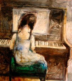 girl with an old piano