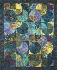 Eclipse Quilt Kit, DIY Designed by Sandy Brawner For Quilt Country Included in the kit is the pattern, Batik fabrics for the top, 1 border and binding. This Quilt finishes 74 x 90. Additional sizes and yardage requirements are included in the pattern. Our color specialists have picked 20 Batik Fat Quarters to make this stunning quilt! There are 2 3/8 yards included for the border and binding. Batik fabrics from Hoffman California, Robert Kaufman and Timeless Treasures! Fabrics may v...