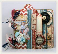 Vintage Patriotic Staggered Page Mini Album | Polly's Paper Studio