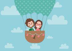 Ilustração Personalizada- Duas pessoas / Com cenário