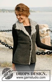 "Knitted DROPS vest in ""Alaska"" with collar and crochet border in ""Puddel"". Size S-XXXL. ~ DROPS Design"