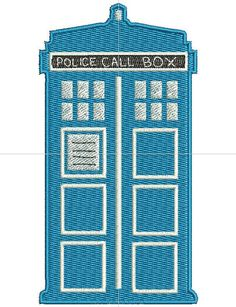 Dr Who Tardis Machine Embroidery design by BagLadyGreats on Etsy