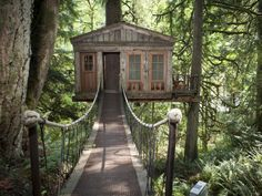 The first of several treehouse retreats created by Pete Nelson for his  Treehouse Point  resort in Washington, the Temple of the Blue Moon is accessible by a swaying bridge and includes a balcony where you can gaze at a night sky filled with stars.