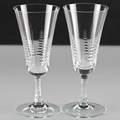 2 Vintage Sektgläser Sektkelche Kristall Glas Sektglas Gläser Schliff ~ 50er R5O
