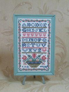 miniature cross stitch sampler