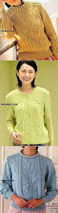 Вязаные пуловеры с цветами   Вяжем с Лана Ви