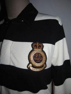 Ralph Lauren Sz L Rugby Polo Shirt Black White Large Crest Logo Equestrian Pique | eBay