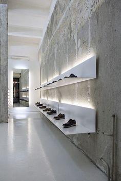 Backlit display shelving.