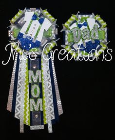 Little Man themed baby shower pin/mum/corsage set in navy blue, lime green, white, and silver w/ custom made center decorations Lil Man Baby Shower, Baby Shower Sash, 2nd Baby Showers, White Baby Showers, Baby Shower Parties, Baby Shower Gifts, Baby Shower Decorations For Boys, Baby Shower Themes, Shower Ideas