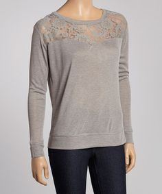 Another great find on #zulily! Heather Gray Lace Scoop Neck Top by Poof! #zulilyfinds