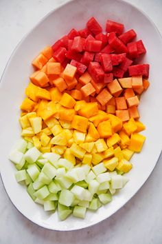 Simple Mexican fruit salad. Use any kind of fruit you like. I love using pineapple chunks and mangos and topping it with my honey, lime and chili dressing!