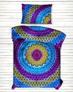 Tie Dye Ombre Duvet Cover  * Beautiful Indian Screen Printed & Tie Dye Cotton Mandala Duvet Cover or Quilt Cover in Twin size with pillow cover.  * Both side has Multi-Color Ombre Mandala Pattern have been crafted.  *This is a Reversible Duvet Cover, You Can Use From Both Side.  * Inside hidden Loops for enclosure.