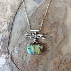 Gemstone Chrysocolla in Silver Necklace. Handmade Designer Cabochon Jewelry for…