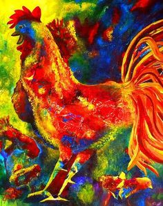 Original Acrylic painting on regular canvas, sides painted - varnished and ready to hang A happy laughing Rooster in bright colours with the hen and little chicks surrounding him, a beautiful b Canvas Paintings For Sale, Happy Paintings, Wall Art Prints, Fine Art Prints, The Barnyard, Family Painting, Canadian Artists, Psychedelic Art, Mixed Media Art