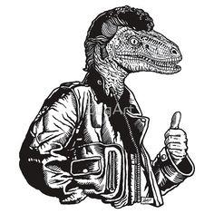 Greaseraptor #dinosaur #raptor #dino #zug #mikeZug #velociraptor #JurassicPark #greaser #1950s #leather #LeatherJacket #grease #pomade