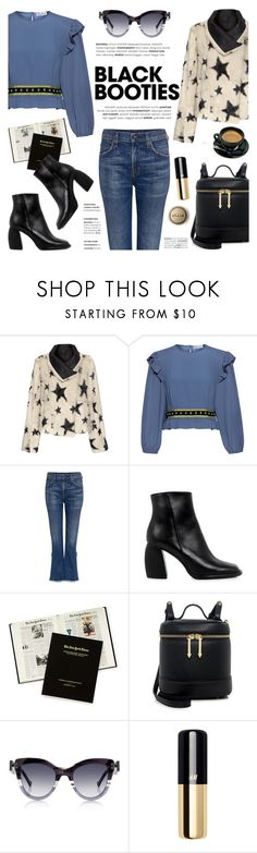 """""""Black Booties"""" by ifchic ❤ liked on Polyvore featuring Meteo by Yves Salomon, RED Valentino, Citizens of Humanity, TIBI, Thakoon, Stila, contestentry, blackbooties and ifchic"""