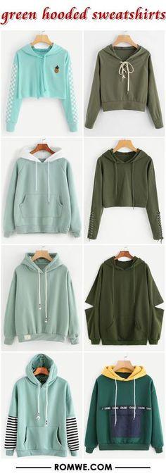 green hooded sweatshirts from romwe.com