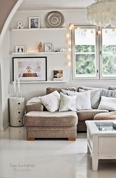 This living room is so serene with all of the soft, neutral colors. Interior design ideas, home decor. Dream home. House Design, Home Decor Inspiration, Room Inspiration, Home And Living, Interior Design, Home, Interior, Home N Decor, Home Decor