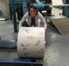 #fbf to the factory last year when I attempted to lift 2000m of our Early Bird wallpaper in one roll.....  #nochance #wallpaper #birds #drawing #illustration #design #detail #homedecor #inspiration #interiordesign #factory #production