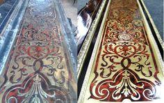 Fragment ramy łóżka typu Boulle przed i po renowacji w pracowni Alter Novum /// Part of Boulle type bed frame before & after restoration by alternovum.com