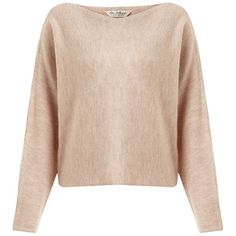 Miss Selfridge Blush Slouchy Crop Jumper ($35) ❤ liked on Polyvore featuring tops, sweaters, pale pink, pale pink crop top, jumpers sweaters, pale pink top, jumper top and pink cropped sweater