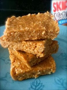 Easy Recipes to Do: 3 Ingredient No Bake Peanut Butter Bars