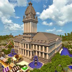 Things I Do On Minecraft — Random Render Town Hall Minecraft Building Designs, Minecraft Modern City, Minecraft City Buildings, Minecraft House Plans, Minecraft Castle, Minecraft Medieval, Minecraft Houses Blueprints, Amazing Minecraft, Minecraft Architecture