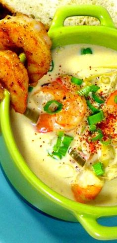 New Orleans Shrimp and Artichoke Soup Absolutely DELICIOUS loaded with shrimp and sweet artichokes, seasoned with Creole/Cajun spices . A version taught at the New Orleans School of Cooking and AMAZING!!!