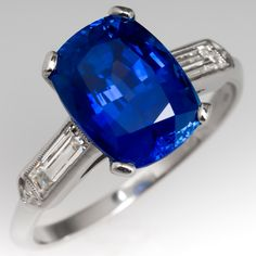GIA 5 Carat No Heat Blue Sapphire Engagement Ring Cushion Cut
