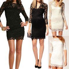 Lady Women 3 4 Sleeve Mini Slim Lace Sheer Pencil Clubbing Cocktail Party Dress   eBay $10