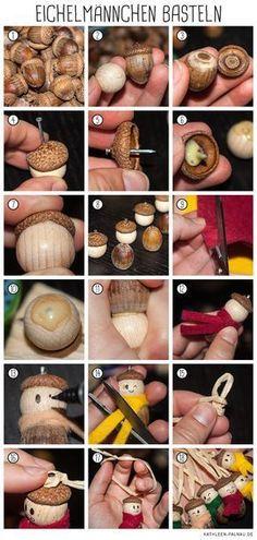 Anleitung zum Basteln von Eichelmännchen // acon diy, acorn craft
