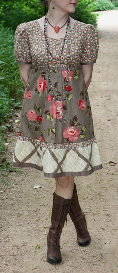 Paper sewing pattern to make a classic dress with the following features: - empire waist - pleated or gathered A-line skirt - two sleeve lengths or sleeveless - knee length or below knee lenth Conditi