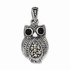 Sterling Silver Marcasite & Black Agate Owl Pendant