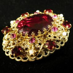 West Germany Marked Brooch Vintage Gold Tone Rhinestones and Faux Pearl Pin   eBay