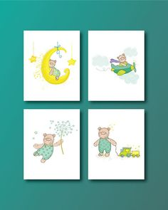 Bear Nursery Art Print  Baby Bear 4 Set  by HappyLittleBeans