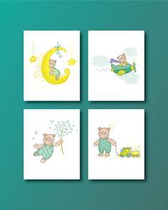Bear Nursery Art Print  Baby Bear 4 Set  by HappyLittleBeans