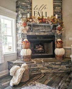 Home Fireplace, Fireplace Remodel, Fireplace Design, Fireplace Ideas, Fall Fireplace Decor, Corner Fireplaces, Mantel Ideas, Farmhouse Fireplace, Corner Fireplace Decorating