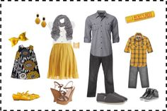 Fall family session outfit idea. Grey+Yellow still a classic and perfect for Fall