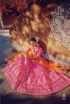 Price @13770.00 INR Colour : Pink & Orange Top Material : Silk Lehenga Material : Art Silk & Georgette Dupatta Material : Net Work : Heavy Embroidery With Hand Work